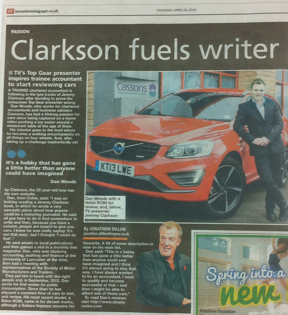 Cassons Accountant, Dan Woods story in the Lancashire Telegraph