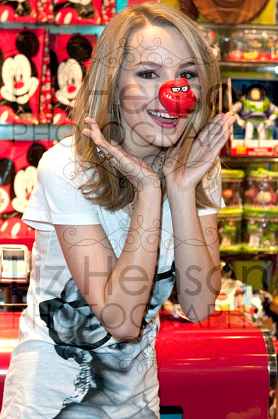 Bridgit Mendler appeared at the Disney store in the Manchester Arndale raising monies for Comic Relief 2013